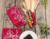 thanksgiving napkins. batik grapeleaves burgundy