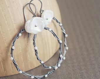 Corona Hoops - twisted wreath earrings with keishi PEARLS