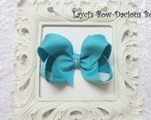 Large BLUE LAGOON Boutique Style Hair Bow, back to school bows, teal bow, peacock blue bow, international shipping, washable bows