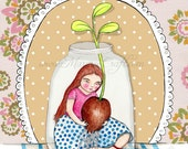 "Little girl garden art print, ""Two Little Sprouts"""