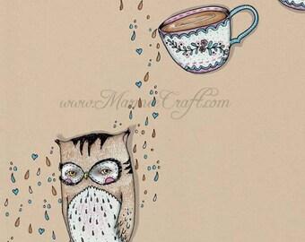 "Owl and tea art print, ""Tea and Owl"""