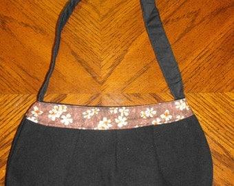 Black Denim & Brown Flower Print Small Buttercup Bag