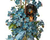 Cotton Fabric Quilt Block Dachshund in Basket of Flowers