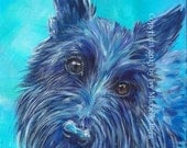 Scottish Terrier (Dog), Art Print of Acrylic Painting on Aqua Background