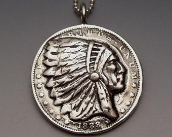 Silver Indian Dollar Pendant made from US Morgan Dollar Coin