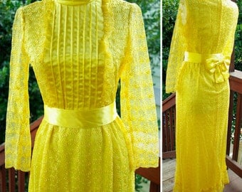 YELLOW Buttercup 1960's 70's Vintage Bright Yellow Satin and Lace MAXI Dress with Pleats and Ruffles size XS Small