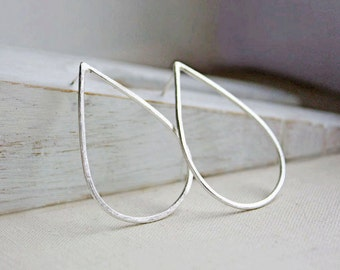 sterling silver teardrop earrings, large hoop modern minimalist stud posts gift for wife girlfriend