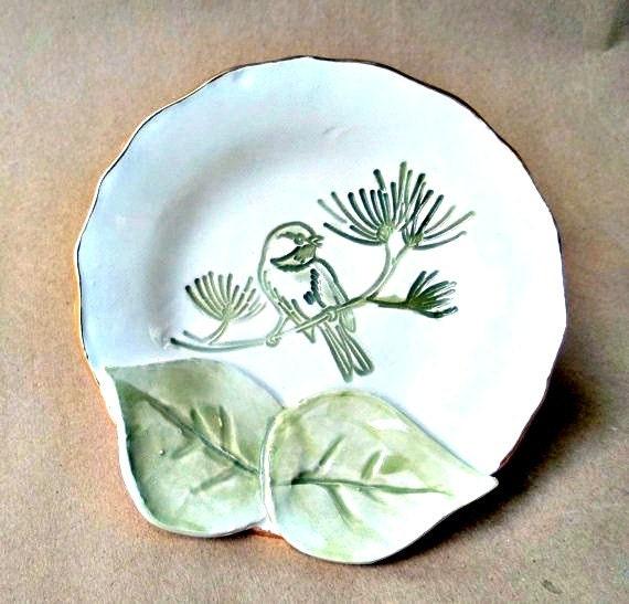 Bird With Leaves Trinket Dish