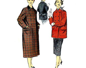 1950s Womens Coat Advance 7763 Vintage Sewing Pattern Side Zipped Skirt Double Breasted Coat in Two Lengths Misses Size 14 Bust 32