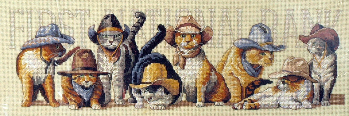 James Younger Gang Cat Cross Stitch Kit Dimensions Cats