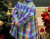 Handmade Girls 4T Vintage Wool Coat with Peter Pan Collar and Beret -Plaid-Toggle Buttons
