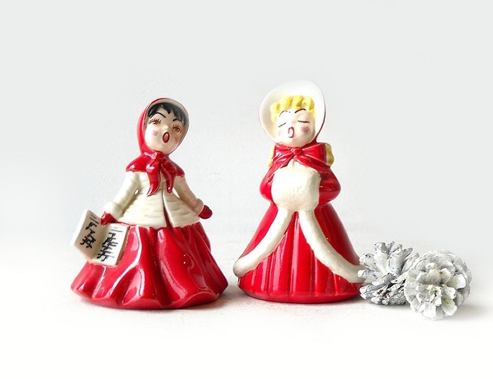 Vintage christmas caroler figurines ceramic victorian girls