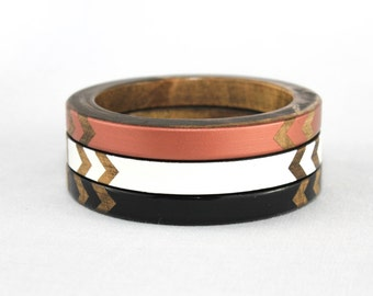 Janelle Skinny Bangle Set/ Wood Bracelet Trio/ Stacked Bangles/ Painted Chevron Design/ Black/ White/ Copper/ xs-xl