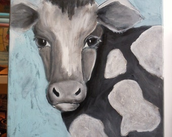 Cow painting, black white cow art, rustic kitchen, farm animal art, dairy cow art, farmyard art, holstein cow art, country farm decor