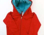 Youth Monster Hoodie - Red with Aqua - Youth Small - monster hoodie, horned sweatshirt, youth jacket