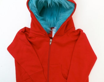Youth Monster Hoodie - Red with Aqua - Youth Medium (10-12) - monster hoodie, horned sweatshirt, youth jacket