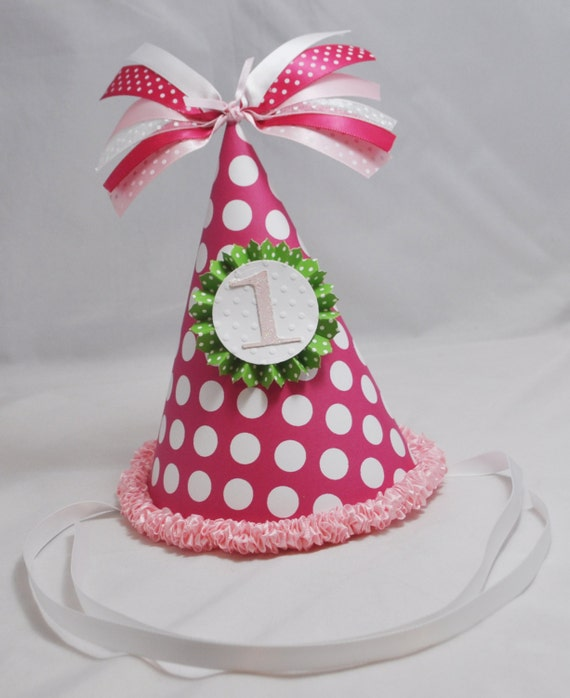 1st Birthday Party Hat Girl Pink And Green By