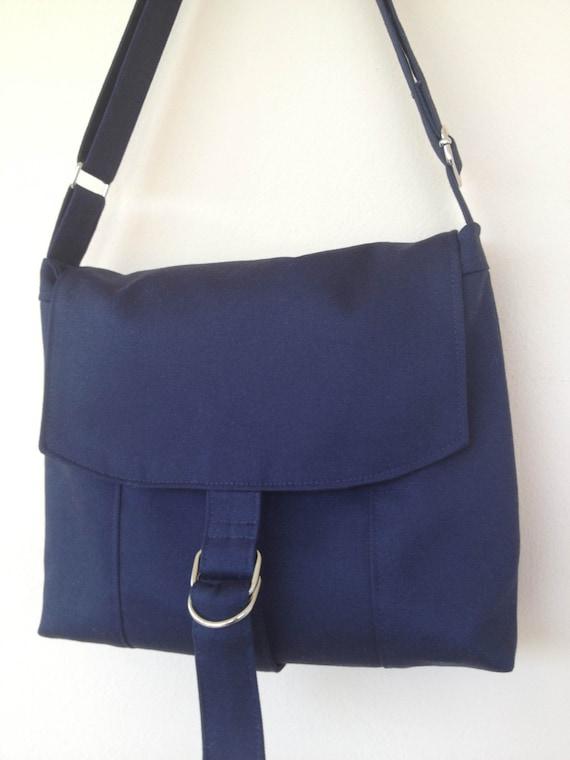 Navy Blue Bag, Twill Fabric Messenger Bag, Padded Unisex Bag ...