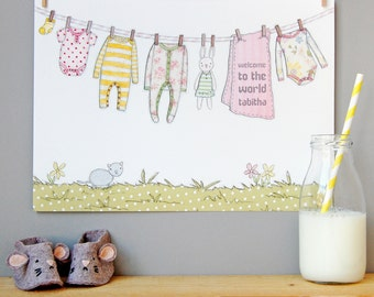 Welcome To The World New Baby Print - Pinks and Yellows - Christening Gift - New Baby Gift - Newborn Gift - New Baby Girl - New Baby Boy