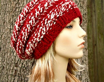 Knit Hat Red Womens Hat - Original Beehive Beret Hat in Red White Knit Hat Red Hat Red Beanie Red Beret Womens Accessories