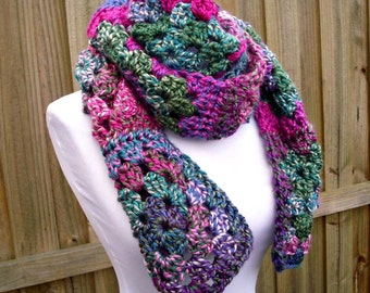 Purple Crocheted Scarf - Granny Square Scarf Grape Vine Purple Green Pink - Purple Scarf Blue Scarf Green Scarf Womens Accessories