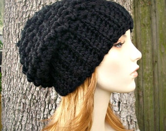Black Slouchy Beanie Slouchy Hat - Souffle Beret Black Crochet Hat - Black Hat Black Beanie Black Beret Womens Hat Womens Accessories