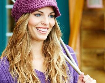 Purple Womens Hat Purple Newsboy Hat - Swirl Beanie with Visor in Fig Purple Knit Hat - Purple Hat Purple Beanie Womens Accessories