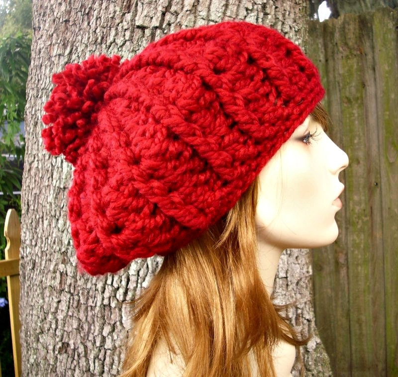 Crochet Hat Red Womens Hat Oversized Nautilus Ribbed Beret
