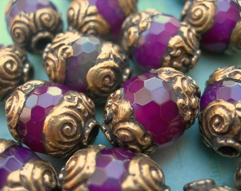 Tibetan Capped Bead Ruby Red Faceted Stone with Gold Repousse Bead Caps lot of 1