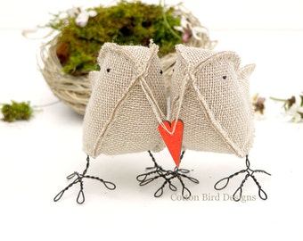 Burlap Birds carrying a Wood Heartmade to order check processing times