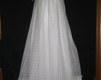 Xtra long formal Lace Christening Baptism Blessing dress girl or boy and bonnet or headband