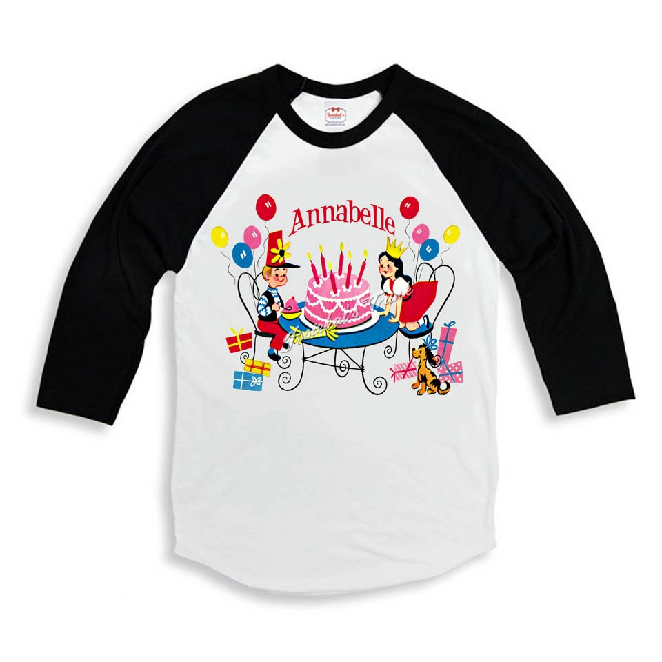 Vintage personalized birthday party tee baseball shirt custom for Custom baseball tee shirts