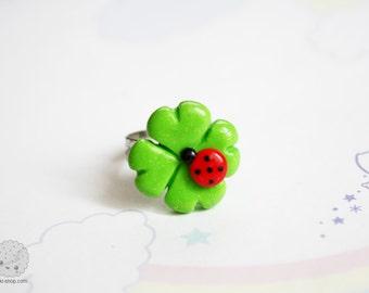 Lucky, cute four leaf clover with lady bug, miniature ring, good luck jewelry