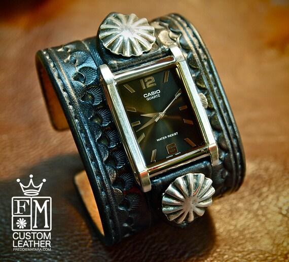 Leather cuff watch Cowboy Rockstar Style Old west Punk Bracelet wristband Handmade for YOU in NYC by Freddie Matara!