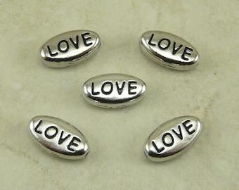 5 TierraCast LOVE Word Beads > Valentine Bride Bridal Wedding - Rhodium Silver Plated Lead Free Pewter - I ship internationally - 5640