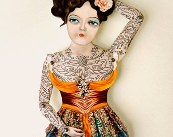 Victorian Tattooed Paper Doll Puppet - Miss Luna, Magician's Dancer Paper Handmade Articulated Figure. Circus Carnival Themed Decoration.