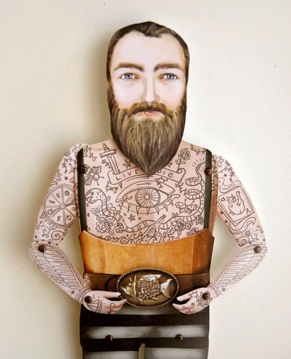 Ready to Ship! Tattoo Beard Man Paper Doll Puppet - Sir Kyle, Victorian Lumberjack. Illustrated  Sideshow Carnival Decorative Art Doll