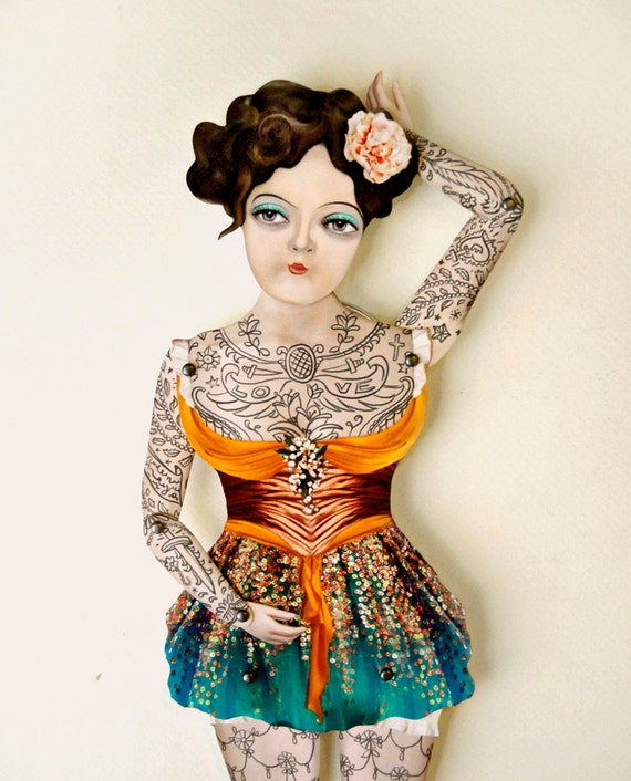 Ready to Ship! Victorian Tattoo Paper Doll Puppet. Miss Luna, Dancer Handmade Articulated Figure. Circus Carnival Themed Decoration.