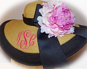 Monogrammed Natural & Black Floppy Hat NEW ITEM Bride, Bride, Sun,  Beach, Bridal Party, Honeymoon Bridesmaids, Sunbonnet, Derby, Cup Race