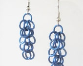 Short Blue Shaggy Loops Chainmaille Earrings Handmade