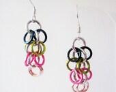 Short Rose Garden Shaggy Loops Chainmaille Earrings Handmade