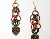 Fall Leaves Shaggy Loops Chainmaille Earrings Handmade