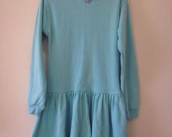 Vintage Girls Blue Button Back Jumper Dress size 5/6