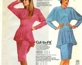 McCall's 2889 DRESS with FULL PEPLUM circa 1986 Woman's Size 6