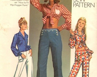 Simplicity 9284 Hippie HIP HUGGER Bell Bottom Pants with Midriff Tied Crop Top 1971