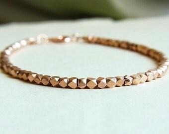 Rose Gold Brushed Faceted Nugget Bracelet // Rose Gold Hex Beads // 2.75 - 3mm