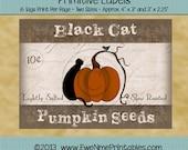 INSTANT DOWNLOAD - Digital Label Sheet - Black Cat Pumpkin Labels - Printable PDF File