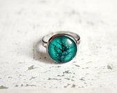 Teal Tree Branch Ring - Gift for her under 20usd