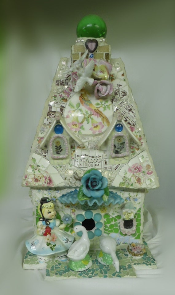 bloomers antique china LARGE shabby country cottage chic BIRDHOUSE broken china jeweled applied roses birds figurines mixed media