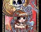 Macabre Art Nouveau Skeleton Death Mask Poster Print